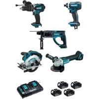 Ensemble de 5 outils sans fil 18 V - 5Ah + 1 aspirateur offert
