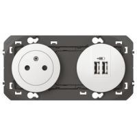 Prise de courant fort + chargeur double USB Dooxie