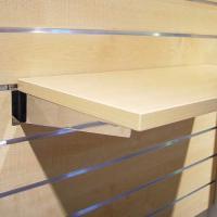 Consoles pour tablettes verre et bois pour panneaux rainurés