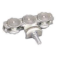 Roulettes à boulon triples pour porte coulissante sur profil tubulaire