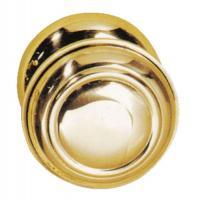 Bouton de porte rond stylisé fixe laiton titane 129/69 PVD