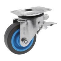 Roulettes pivotantes à blocage sur platine roue Résilex® pour charges lourdes - Maxiroll