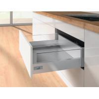 Tiroir casserolier hauteur 144 mm avec réhausses DesignSide verre - prémonté 3 faces - avec coulisses Silent System 50kg
