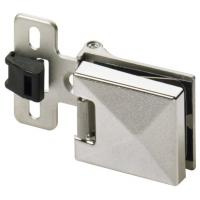 Charnière de porte en verre 180° - verre/bois - zamak nickelé mat - ET 5150 Z