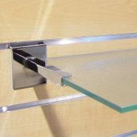 Console tablettes verre pour panneaux rainurés