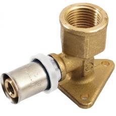 Coude 90° avec embase de fixation à sertir pour tube multicouche Acopex Alu