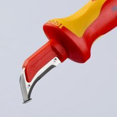 Couteau d'électricien à lame à crochet robuste avec patin de guidage isolé 1000V
