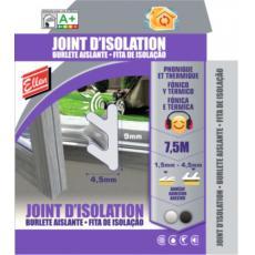 Joint d'isolation phonique et thermique pour menuiserie - pour espaces de 1,5 à 4,5 mm - largeur 9 mm