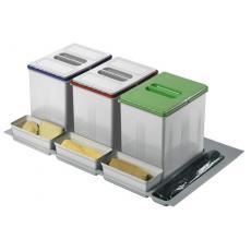 Poubelle pour tiroir 3 bacs - 3 x 16 litres