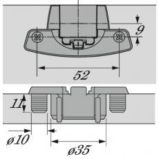 Charnière invisible spécifique extra-plates - Boîtiers à enfoncer 180° - 230° - 270° - Selekta Pro 2000