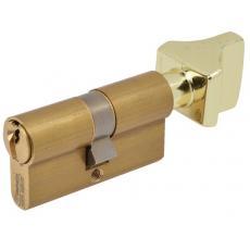 Cylindre double de sûreté à bouton - Profil européen s entrouvrant en Laiton poli - Série 3000