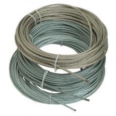 Câbles âme métallique gainés PVC, 7 torons de 7 fils - Inox / PVC blanc