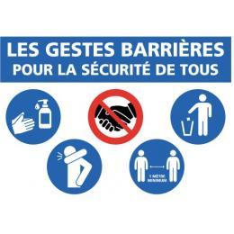 Adhésif murs ''Les gestes barrières pour la sécurité de tous''