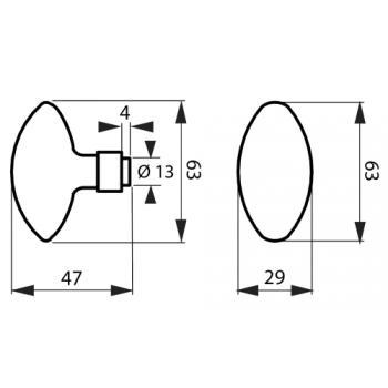 Bouton de grille double ovoïde avec carré acier de 6 x 90 mm 1 portée finition noire