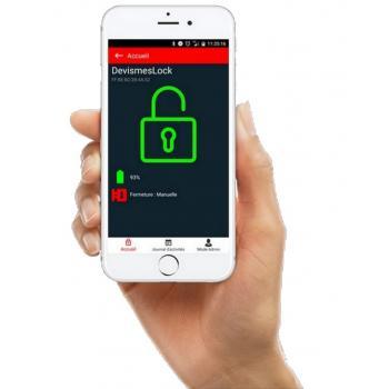 Serrures bandeaux en applique 3 points connectées déverrouillage par smartphone télécommande ou clé