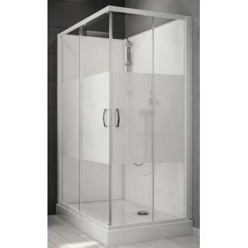 Cabine de douche rectangulaire à portes coulissantes + 2 vantaux fixes Izibox 2