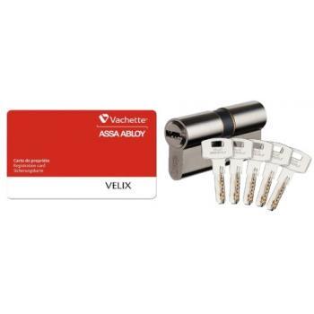 Cylindres doubles de sûreté type VELIX laiton nickelé 5 clés réversibles brevetées