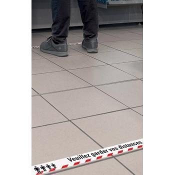 Bande adhésive de marquage « Veuillez garder vos distances »
