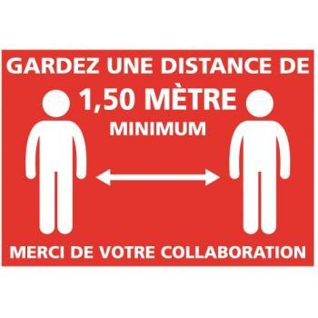 Adhésif murs ''Gardez une distance de 1,50m''