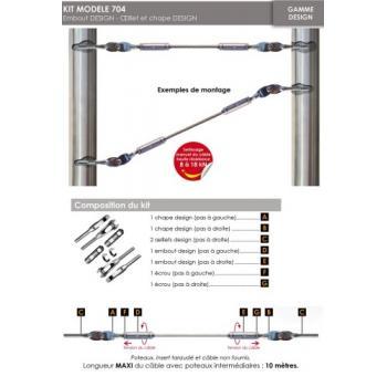 Kit de pose pour poteaux rond acier - pour câble Ø 6 mm - inox 316 - non traversant - droit et orientable