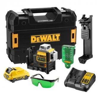 Niveau laser multilignes 3x360° XR 10.8V faisceaux vert + 1 batterie 2Ah Li-ion - en coffret TSTAK - DCE089D1G-QW