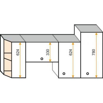Caisson d'angle haut 1 porte - hauteur 780 mm