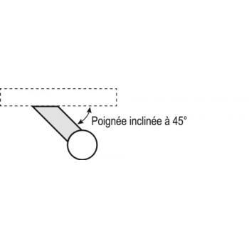 Poignée de porte battante en inox barre droite supports inclinés Boëdic