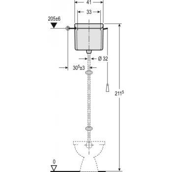 Réservoir indépendant haut simple chasse avec chaînette AP123
