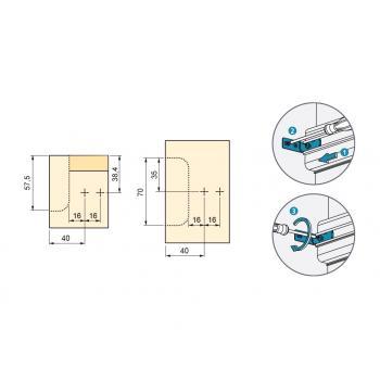Support de fixation à visser pour profil horizontal Gola-E