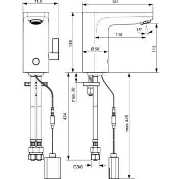 Mitigeur de lavabo optoélectronique à pile Okyris Clinic