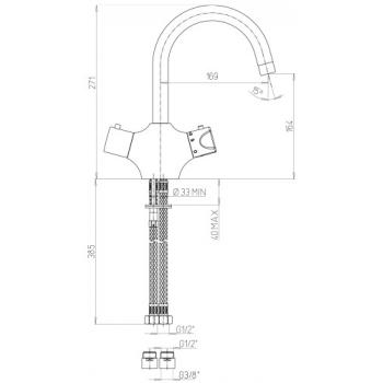 Mitigeur thermostatique de lavabo monotrou à bec orientable H164