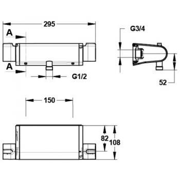 Mitigeur thermostatique de douche Mastermix à sortie basse et fixations S3/4''