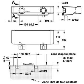 Coffret de douche thermostatique Mastermix à sortie basse et fixations S 3/4''