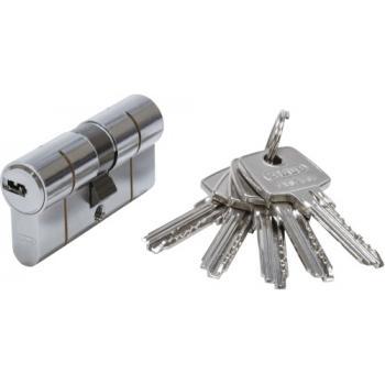 Cylindres D6PS double entrée variés en laiton nickelé 5 clés