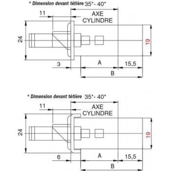 Serrures à larder 3 points têtière plate de 24 x 3 x 2300 mm motorisées Multiblindo Emotion Exit
