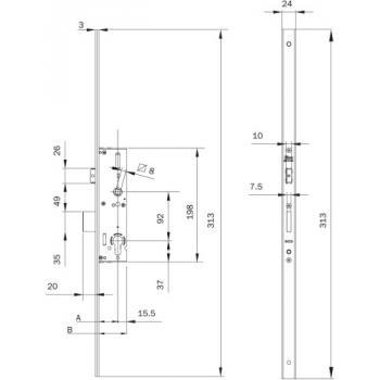 Serrure à larder 1 point pour menuiserie métallique tétiêre plate de 24 x 3 x 313 mm Performa