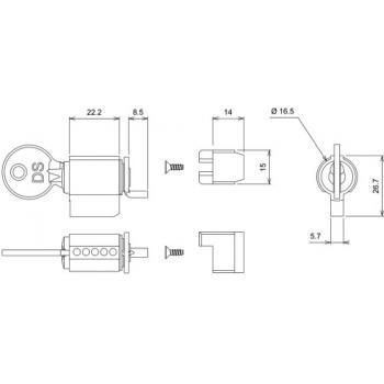 Barillet pour fermetures encastrées série 6790 pour coulissant menuiserie aluminium