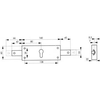 Serrure 2 points à cylindre européen pour rideau métallique