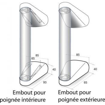 Embouts pour tubes Ø 50 mm en aluminium pour poignée tubulaire Météore à assembler