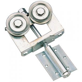 Montures à galet à charnière acier zingué pour portes à déplacement latéral