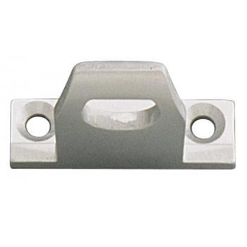 Gâche aluminium anodisé argent pour loqueteau chassis PVC