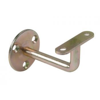 Supports de rampe coudés en acier zingué - sur platine ronde à visser - support de fixation plat Stor