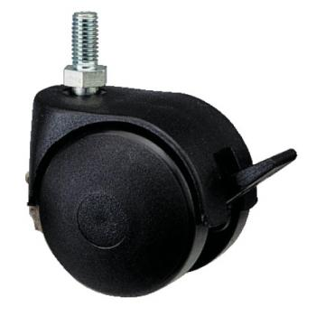 Roulettes de meuble Twiny avec chape en plastique noir