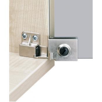 Charnière de porte en verre 170° - verre/bois - zamak nickelé mat - ET 5150