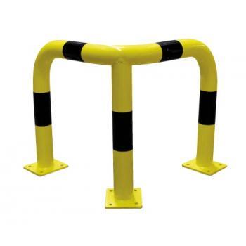 Barrière de sécurité acier 76 mm à platine pour protection d'angles