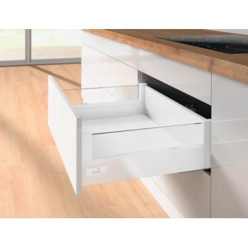 Tiroir casserolier hauteur 144 mm - prémonté 3 faces - Design Side verre - avec coulisses Silent System 50 kg - blanc