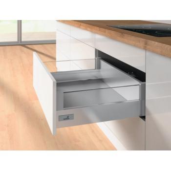 Tiroir casserolier hauteur 144 mm avec réhausses DesignSide verre - prémonté 3 faces - avec coulisses Push to Open 30kg