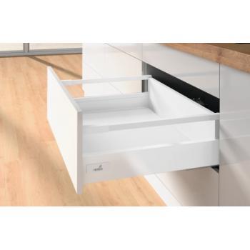 Tiroir casserolier hauteur 144 mm - avec tringles - prémonté 3 faces - avec coulisses Push To Open 30 kg - blanc