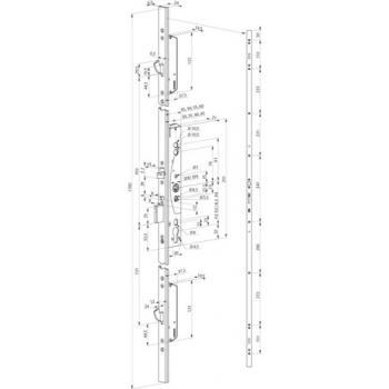 Serrures Médiator 3 points entraxe 92 mm carré de 8/9 mm type 629X PZ