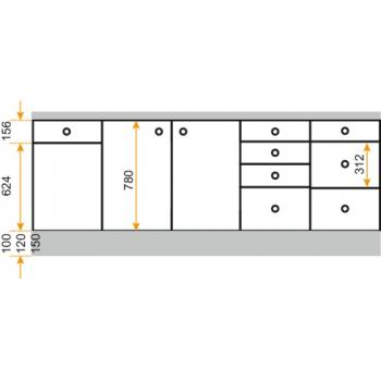 Caisson bas - hauteur 780 mm